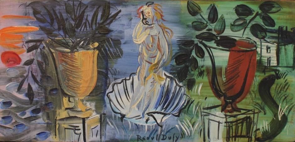 """<span class=""""artist""""><strong>Raoul Dufy</strong></span>, <span class=""""title""""><em>La naissance de Venus aux deux vasques</em>, c. 1946</span>"""