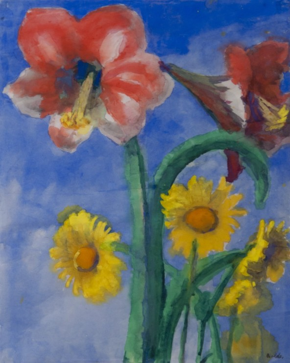 "<span class=""artist""><strong>Emil Nolde</strong></span>, <span class=""title""><em>Amaryllis und Sonnenblumen</em>, c.1950-52</span>"