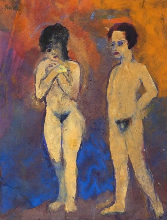 "<span class=""artist""><strong>Emil Nolde</strong></span>, <span class=""title""><em>Akte, Mann und Frau (Frau Hände vor der Brust gekreuzt)</em>, 1938-45</span>"