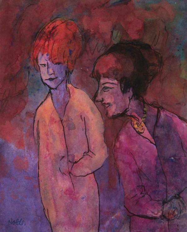 """<span class=""""artist""""><strong>Emil Nolde</strong></span>, <span class=""""title""""><em>Zwei Frauen, rotviolett</em>, 1938-45</span>"""