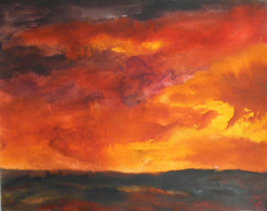 """<span class=""""artist""""><strong>Herbert Beck</strong></span>, <span class=""""title""""><em>Rot-orangener Himmel</em>, 2009</span>"""