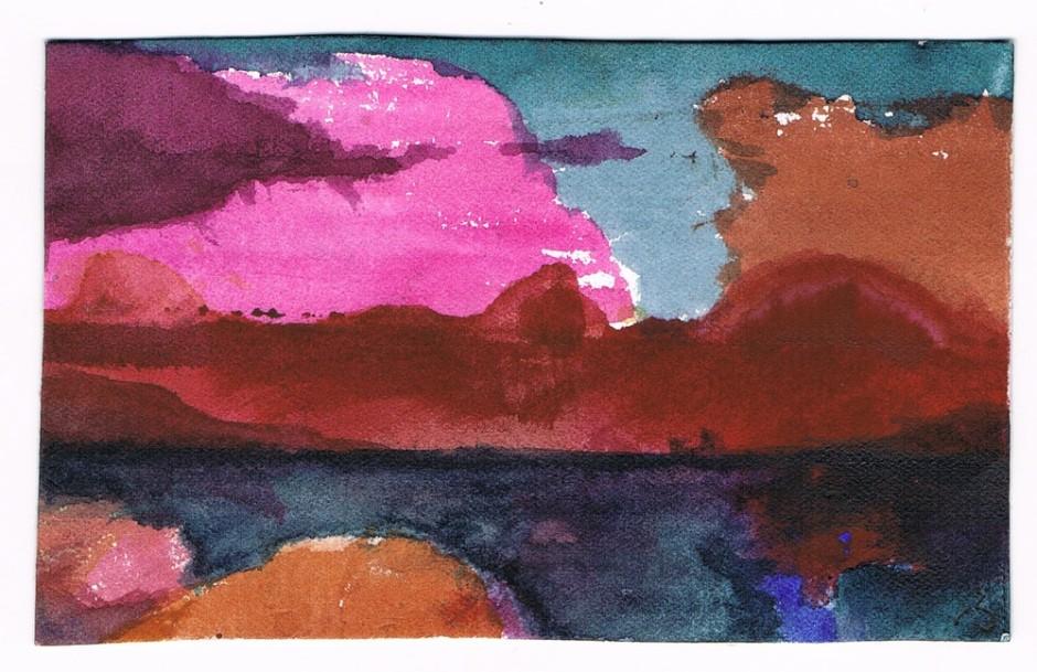 """<span class=""""artist""""><strong>Herbert Beck</strong></span>, <span class=""""title""""><em>Rote Wolken über dem Meer</em></span>"""