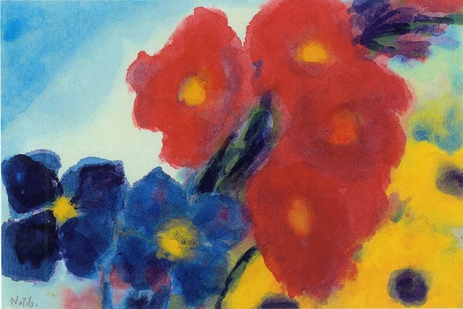 """<span class=""""artist""""><strong>Emil Nolde</strong></span>, <span class=""""title""""><em>Dahlien und blaue Clematis</em>, 1950/54</span>"""