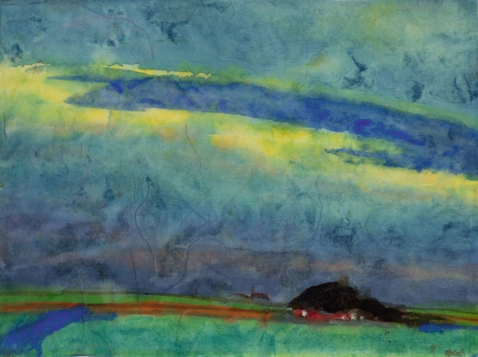 "<span class=""artist""><strong>Emil Nolde</strong></span>, <span class=""title""><em>Marshland With Farm</em>, c.1945</span>"