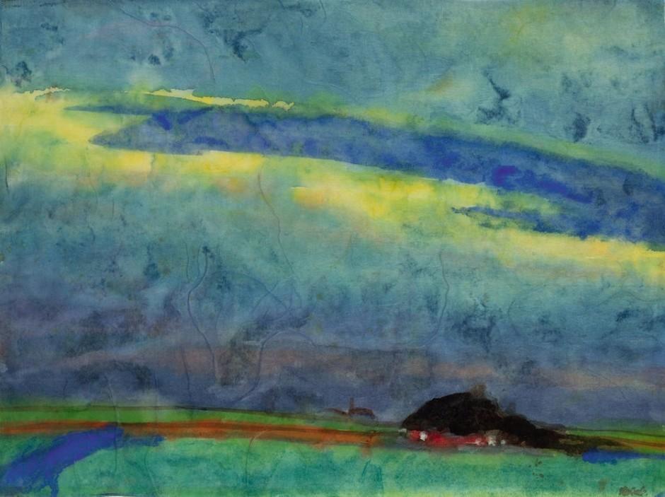 "<span class=""artist""><strong>Emil Nolde</strong></span>, <span class=""title""><em>Marshland With Farm</em>, c.1945</span>"