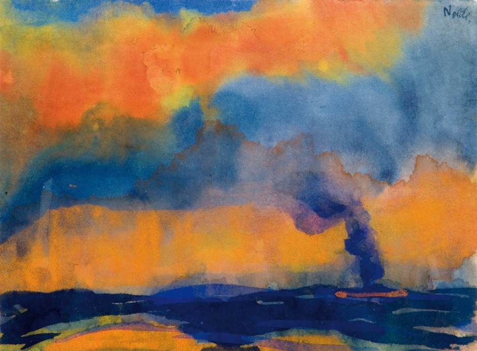 "<span class=""artist""><strong>Emil Nolde</strong></span>, <span class=""title""><em>Sea with Smoking Steamer</em>, c.1946</span>"