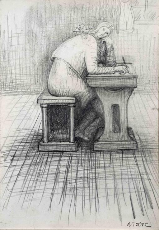 "<span class=""artist""><strong>Henry Moore</strong></span>, <span class=""title""><em>Girl doing homework</em>, 1972</span>"