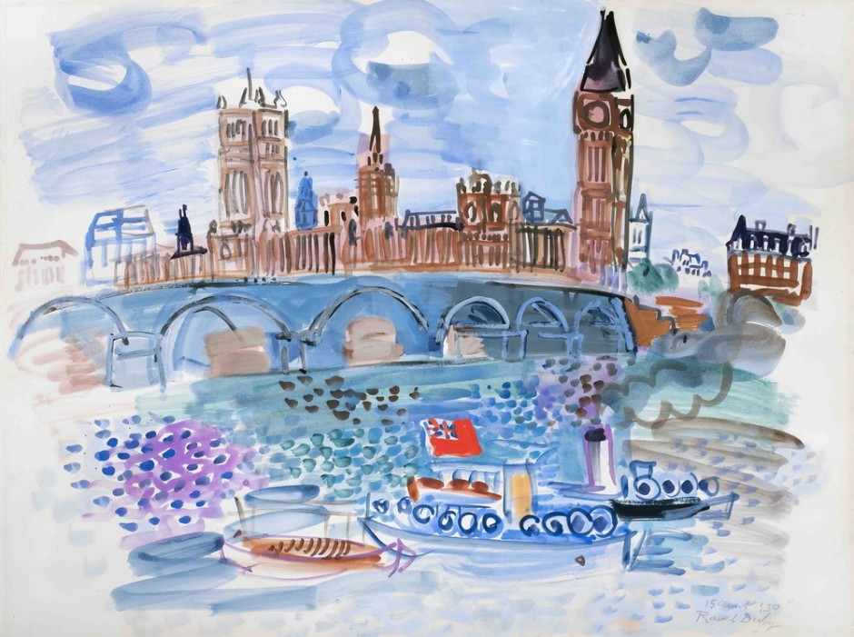 "<span class=""artist""><strong>Raoul Dufy</strong></span>, <span class=""title""><em>Londres</em>, 1930</span>"