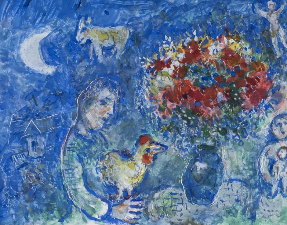 """<span class=""""artist""""><strong>Marc Chagall</strong></span>, <span class=""""title""""><em>Autour de coq et du bouquet</em>, 1981</span>"""