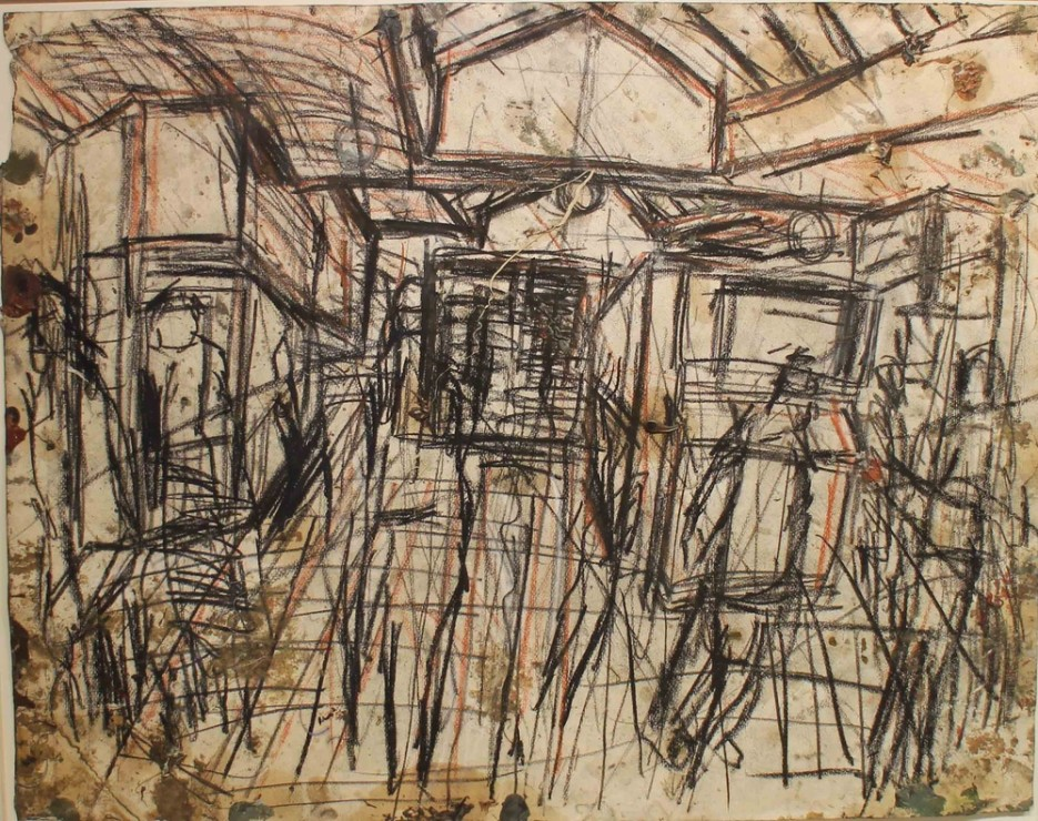 "<span class=""artist""><strong>Leon Kossoff</strong></span>, <span class=""title""><em>The Booking Hall</em>, c.1976</span>"