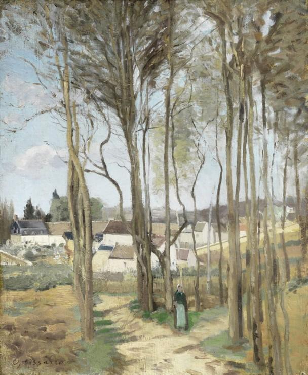 """<span class=""""artist""""><strong>Camille Pissarro</strong></span>, <span class=""""title""""><em>Le Village a travers les arbres</em>, c.1869</span>"""