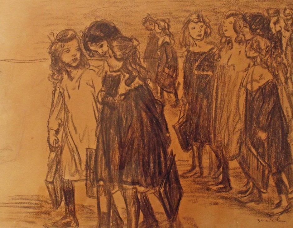 "<span class=""artist""><strong>Theophile Alexandre Steinlen</strong></span>, <span class=""title""><em>Going to School</em></span>"