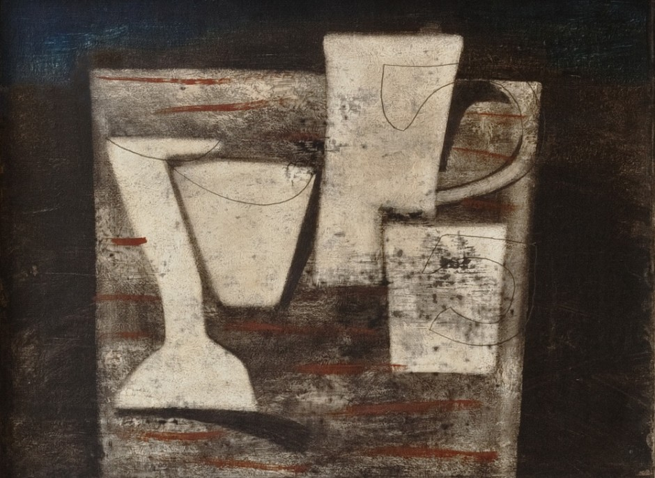 "<span class=""artist""><strong>Ben Nicholson</strong></span>, <span class=""title""><em>May 1955 (Carved Forms and Indigo)</em>, 1955</span>"