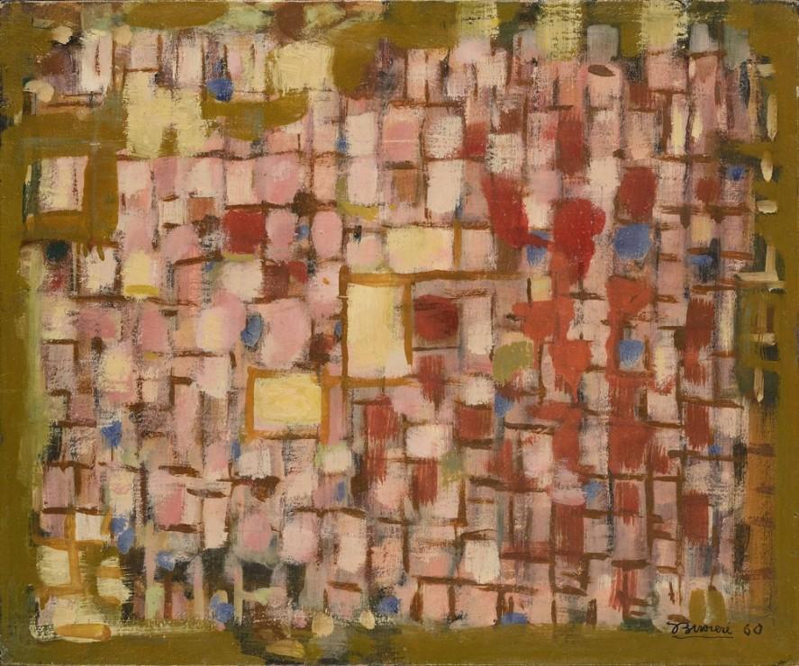 "<span class=""artist""><strong>Roger Bissière</strong></span>, <span class=""title""><em>Soleil horizontal - Composition 409</em>, 1960</span>"