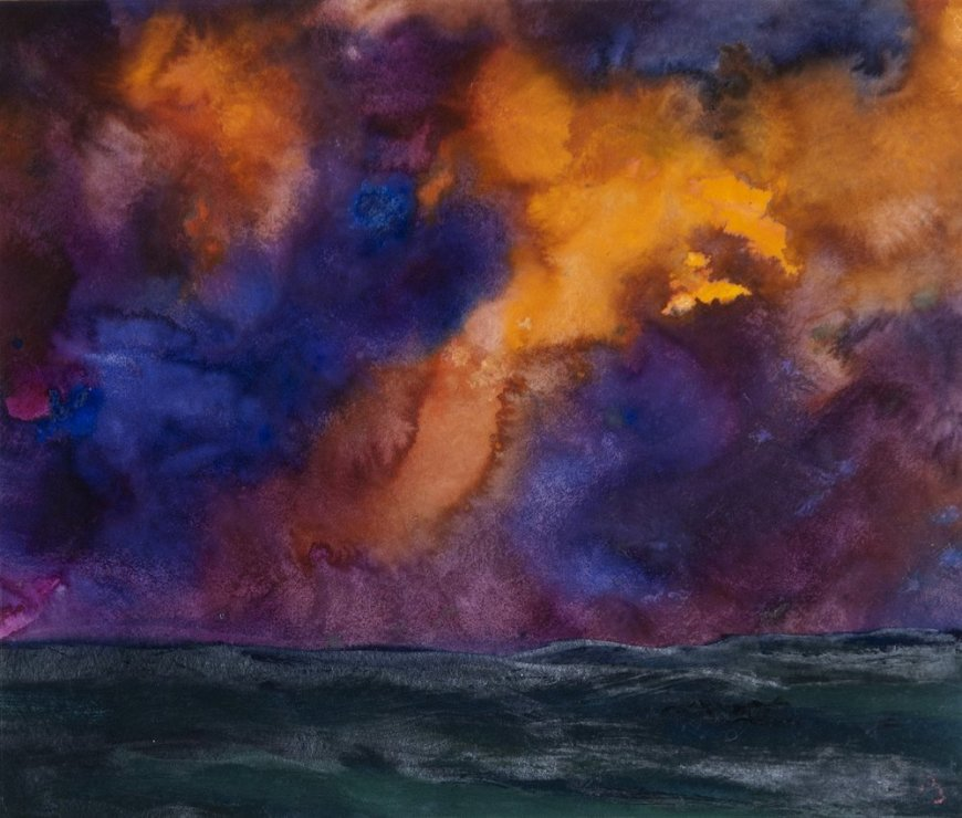 "<span class=""artist""><strong>Herbert Beck</strong></span>, <span class=""title""><em>Landscape with Purple Clouds</em>, c. 1990</span>"