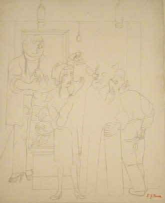 "<span class=""artist""><strong>Edward Burra</strong></span>, <span class=""title""><em>Familial bliss</em>, c. 1934</span>"