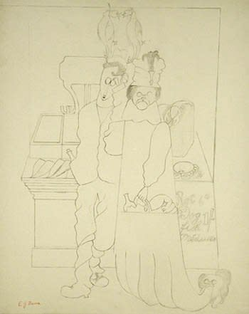 "<span class=""artist""><strong>Edward Burra</strong></span>, <span class=""title""><em>Dog fish</em>, c. 1930-31</span>"