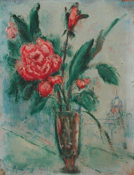 """<span class=""""artist""""><strong>Michel Georges-Michel</strong></span>, <span class=""""title""""><em>Bouquet de roses et avenue d l'opéra</em>, c.1924</span>"""