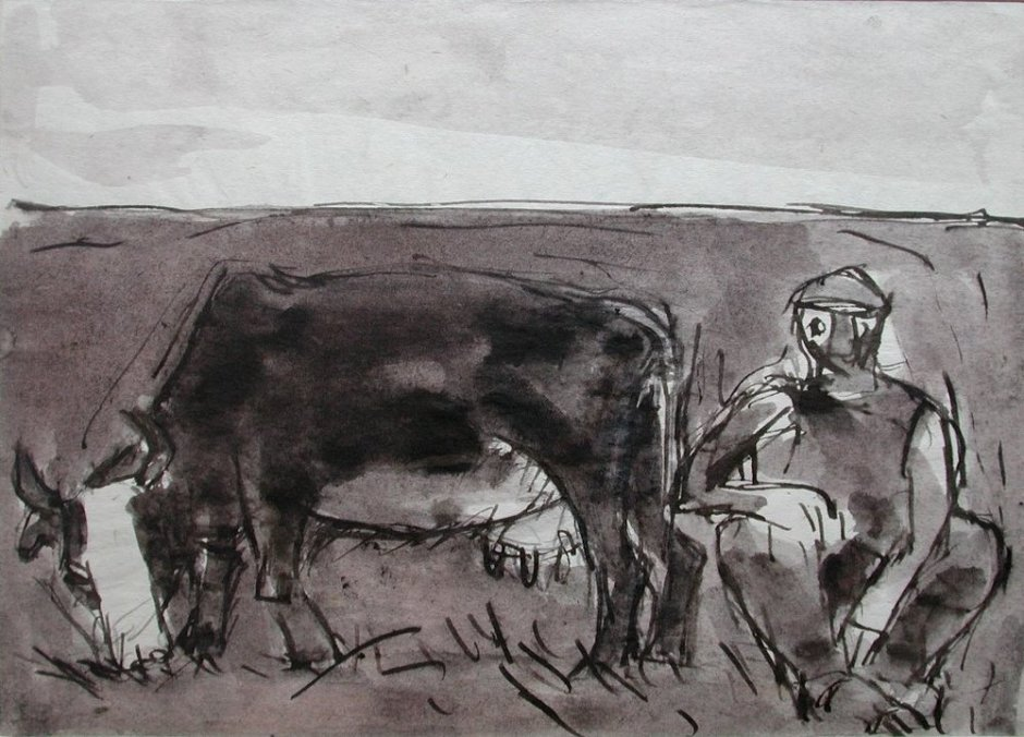 "<span class=""artist""><strong>Josef Herman</strong></span>, <span class=""title""><em>Cow grazing and man</em>, 1948</span>"