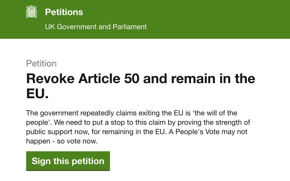 <a href=&#34;https://petition.parliament.uk/petitions/241584&#34;>Petition: Revoke Article 50 and remain in the EU</a>