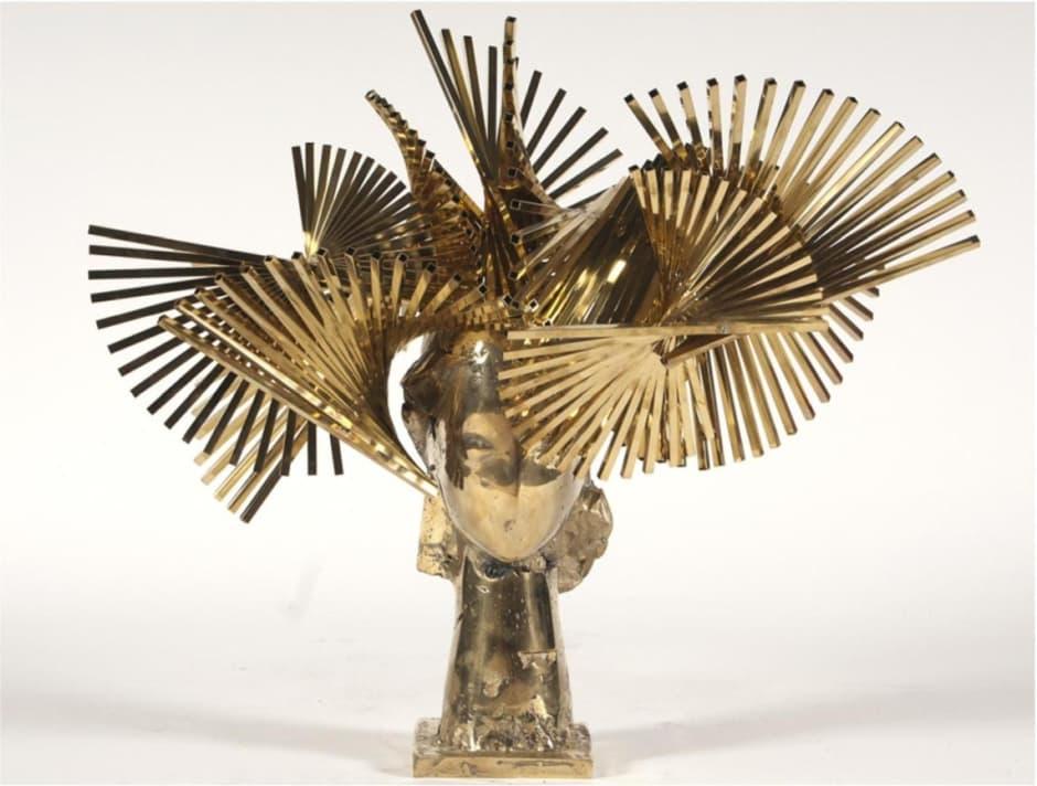 "Manolo Valdes' ""Ivy Cabeza de Biarritz Dorada"" gold aluminum sculpture"