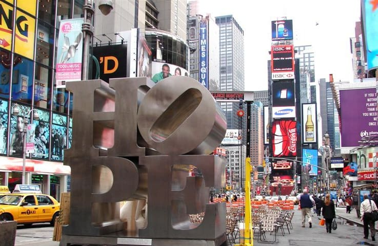 """Robert Indiana's """"HOPE"""" in Times Square"""
