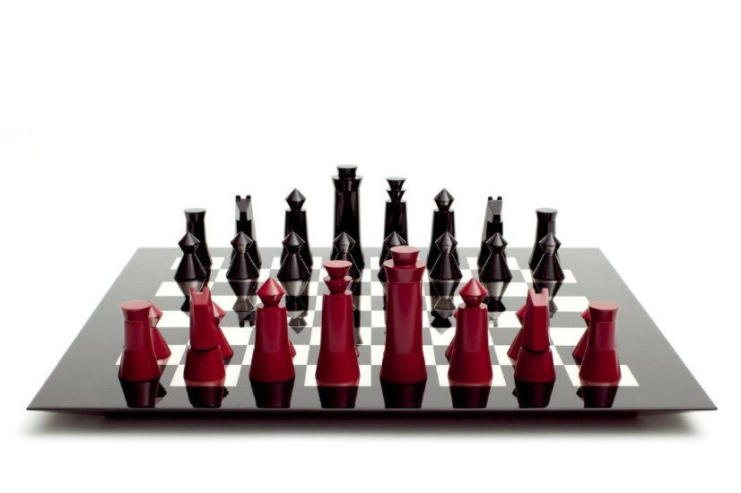 <div><strong>Alexander Gelman</strong><em>, </em>Urushi Chess Set, 2009</div><div>Black and red urushi, silver inlay</div><div>Board: 45 W x 45 D x 2.1 H cms<br />Pieces: Variable</div><div>Edition of 5</div>