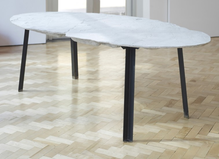Wooden Table, Large White Elipse 2, 2014