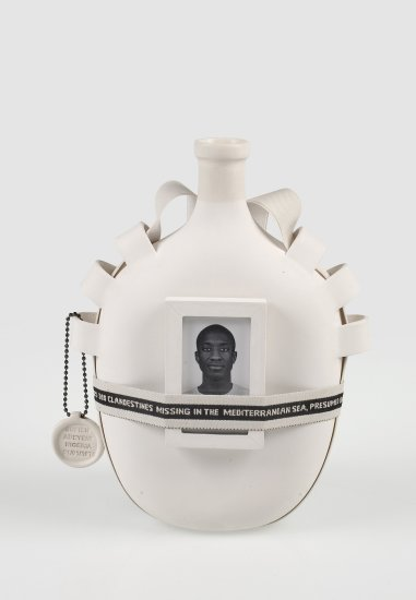 <p><strong>Formafantasma</strong>, Moulding Tradition: Hip Flask, 2009</p><p>Unglazed ceramic, glass, jacquard ribbon, photographic paper</p><p>Edition of 12 plus 2 Artist's Proofs & 1 Prototype</p><p>Photography by Luisa Zanzani</p>