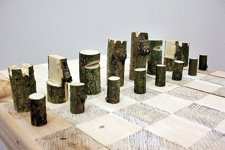 <p><strong>Peter Marigold</strong>, Log Chess Set, 2012</p><p>Single branch, plywood, graphite</p><p>62 W x 62 D x 2 H cms</p><p>Unique piece from a series</p>