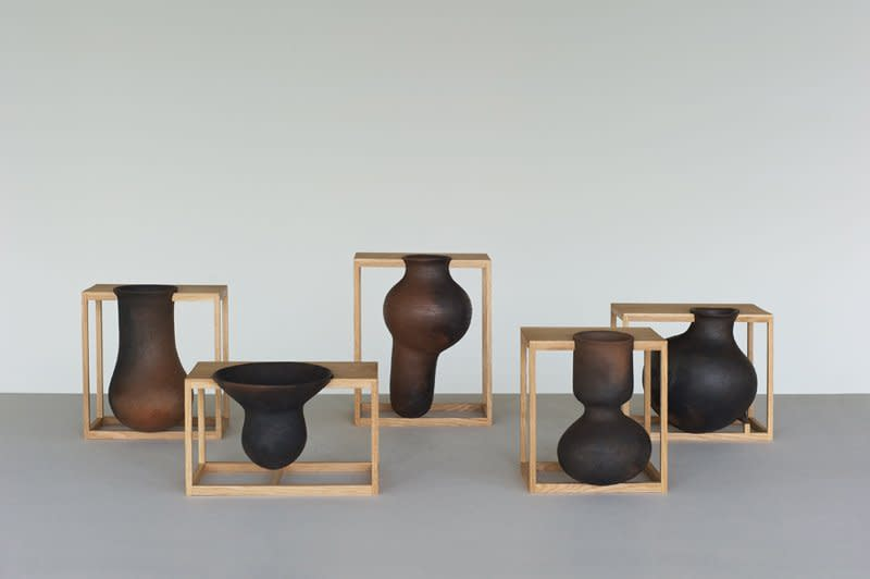 <p><strong>Liliana Ovalle</strong>, Sinkhole Vessels, 2013</p><p>Open-fired red clay, oak</p><p>Photograph by Kytzhia Barrera and Liliana Ovalle</p>