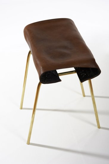 <p><strong>Simon Hasan</strong>, Geno Stool, 2011</p><p>Leather, brass</p><p>37.5 W x 25 D x 50 H cms</p><p>Edition of 24 plus 2 Artist's Proofs</p><p>Photography by Gideon Hart</p>