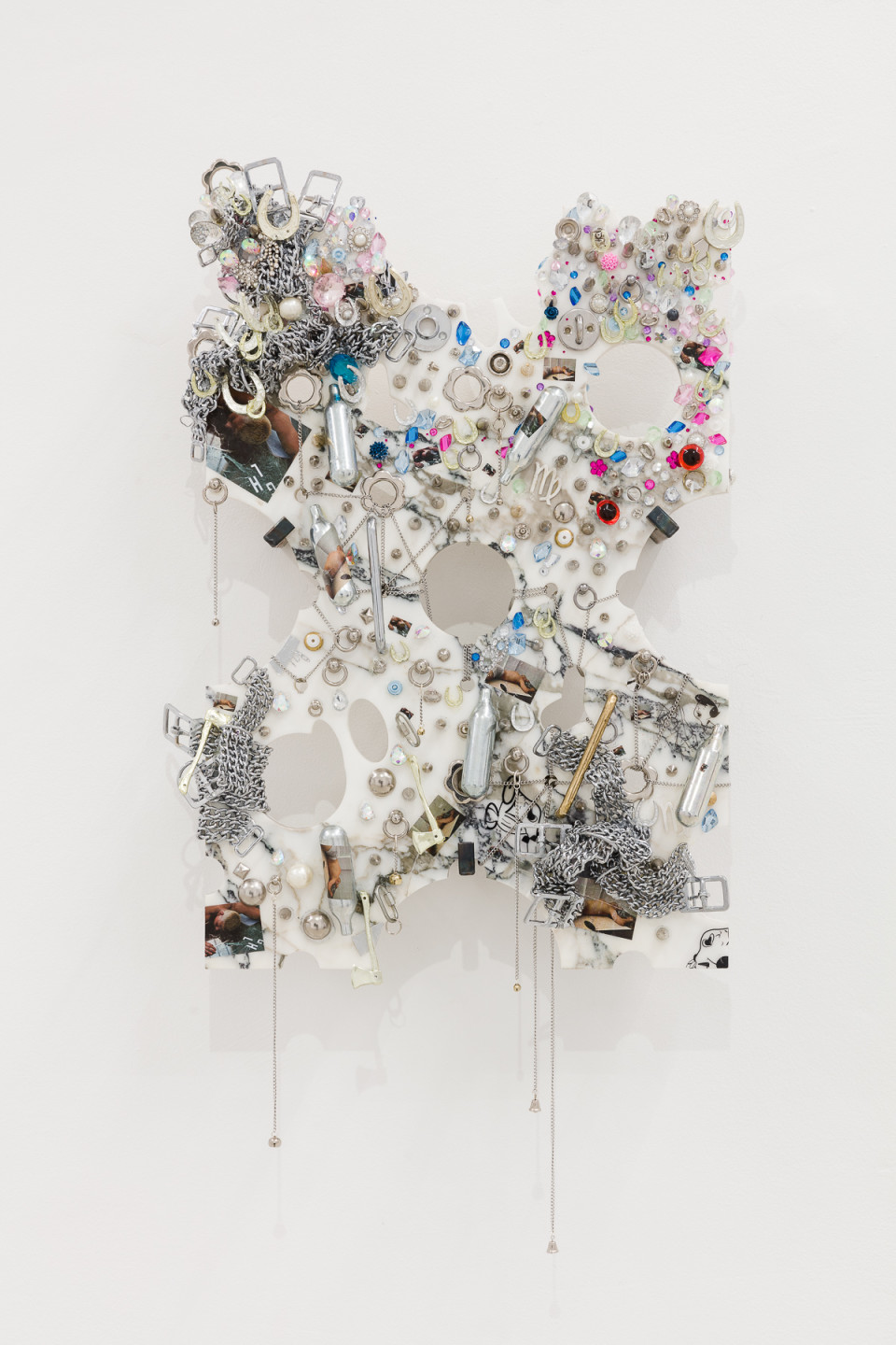 George Henry Longly Promo V, 2019 Marble, metal chains, nitrous oxide, photographs, plastic 82 x 42 x 2 cm 32 1/4 x 16 1/2 x 3/4 in