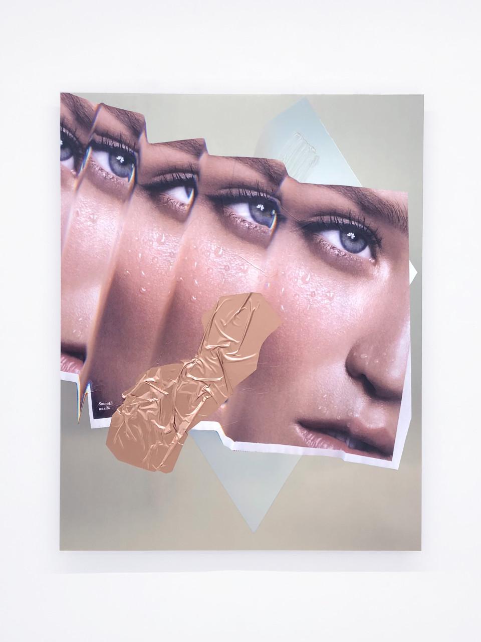 Hannah Perry Smooth as silk, 2018 Digital print, car heat wrap, paint, car lacquer on aluminium 120 x 99 cm 47 1/4 x 39 in