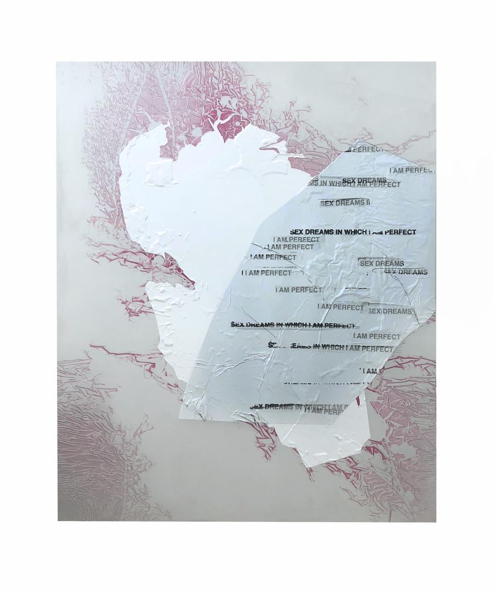 Hannah Perry Spoilers, 2018 Screen print, car heat wrap, paint, car lacquer on aluminium 120 x 99 cm 47 1/4 x 39 in