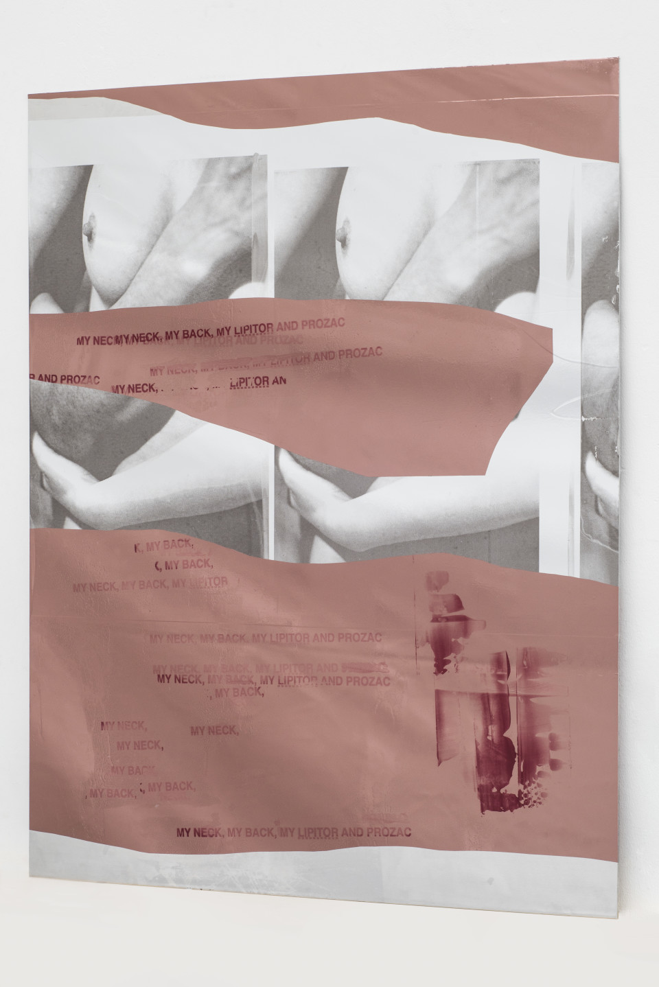 Hannah Perry Keep In Touch, 2018 Screen print, car heat wrap, paint, lacquer on aluminium 120 x 99 cm 47 1/4 x 39 in