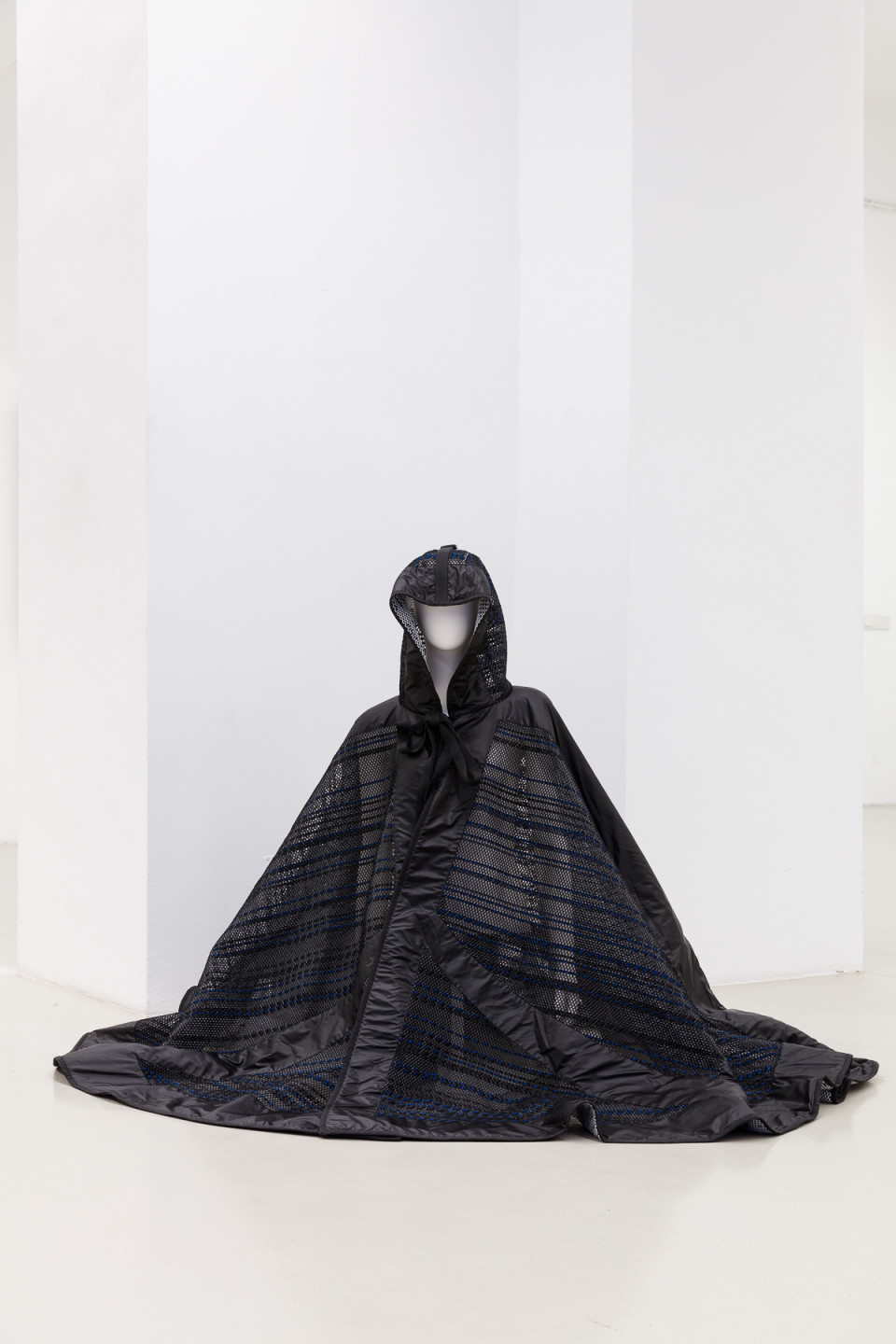 George Henry Longly Come. And. Creep, 2016 Ribbon and neoprene cape made in collaboration with James Long 110 x 190 x 110 cm 43 1/4 x 74 3/4 x 43 1/4 in