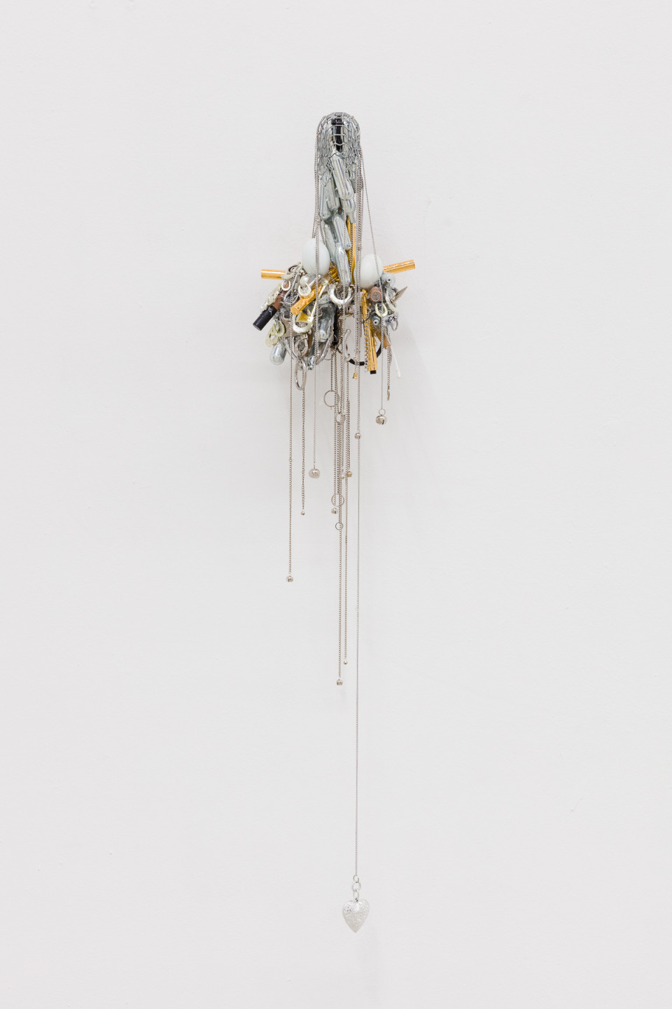 George Henry Longly Str8 Cock Worship , 2019 Nitrousoxide, metal chains, plastic, make up, anusol, bamboo ,eggs 117 x 26 x 17 cm 46 1/8 x 10 1/4 x 6 3/4 in