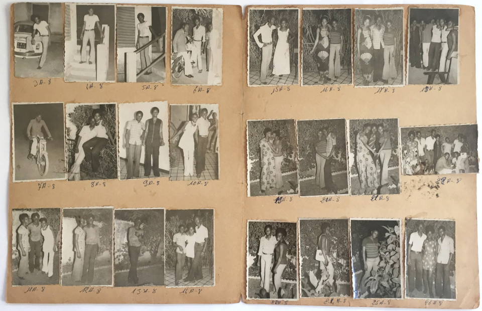 Image: Malick Sidibé  24-3-73, 1973  numerical notations under each print; signed, initialed, dated verso  collection of 24 vintage gelatin silver prints mounted on paper  12-3/4 x 19-1/2 inches