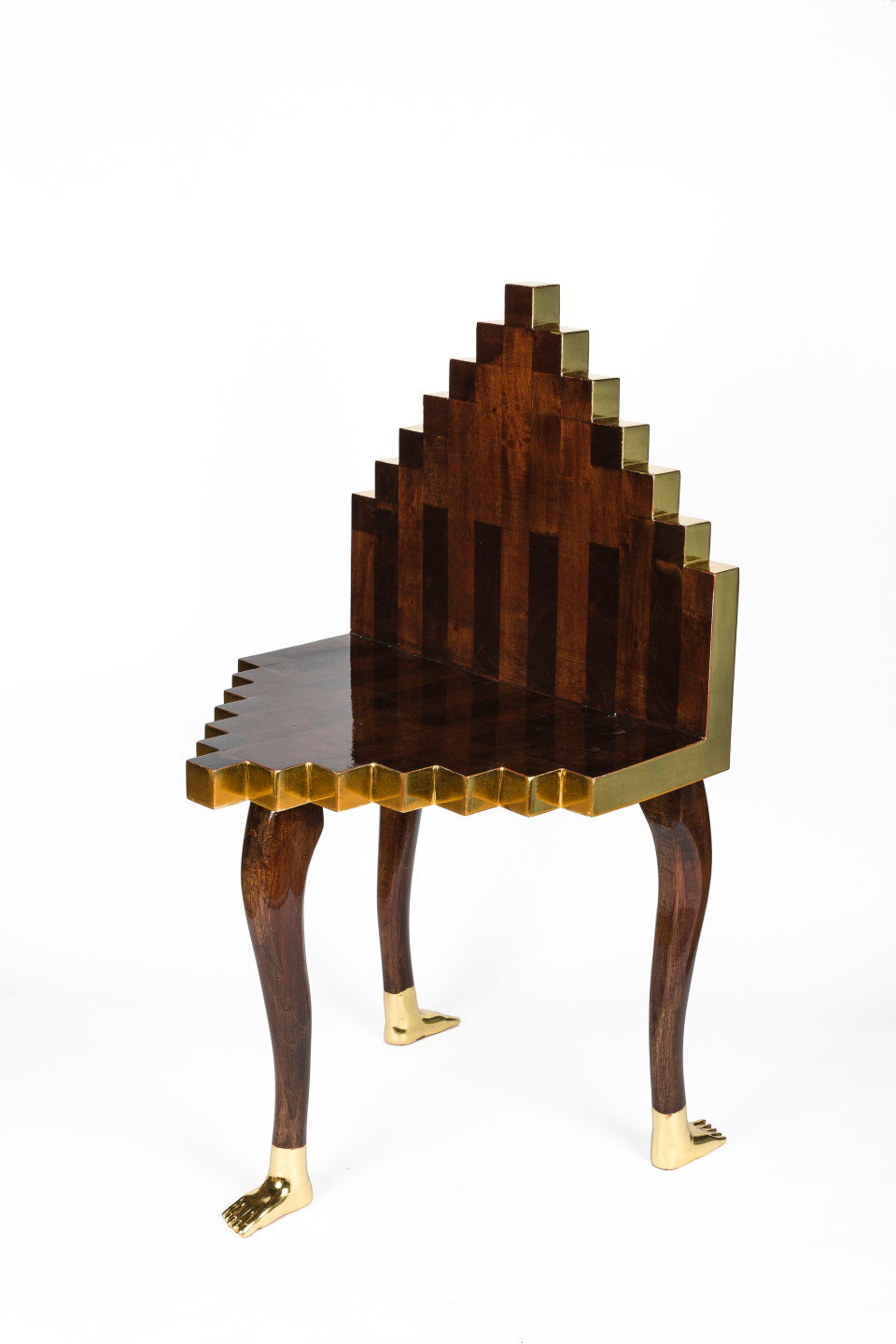 Image: Pedro Friedeberg  Chair for an Inca Princess, 2017  signed and dated  hand carved walnut and gold leaf  33 1/2 x 19 1/4 x 18 1/2 inches (85 x 49 x 47 cm)