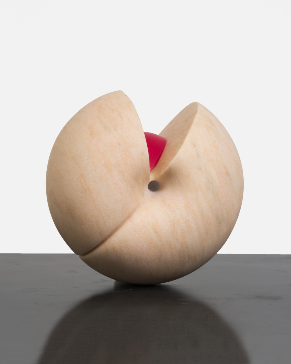 Image: Nevine Mahmoud  Peach (femme dissevered), 2018  Portuguese marble and resin  9 x 9 x 9 in (22.9 x 22.9 x 22.9 cm)