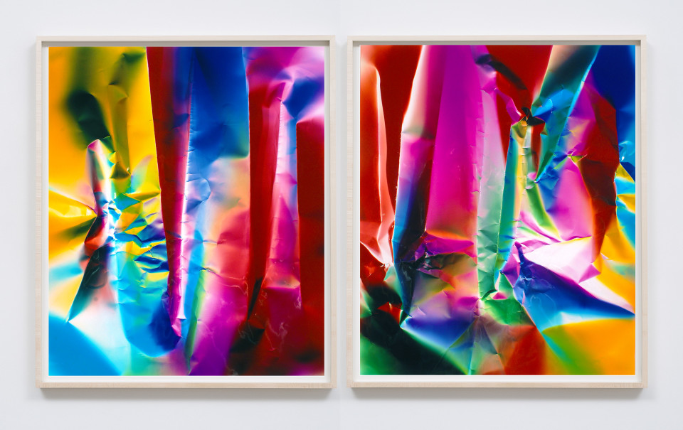 Image: Ellen Carey  Dings & Shadows (diptych), 2017  signed, dated and titled verso  two unique chromogenic prints on glossy paper  24 x 20 inches (each)  (ECa.03.1706.24)