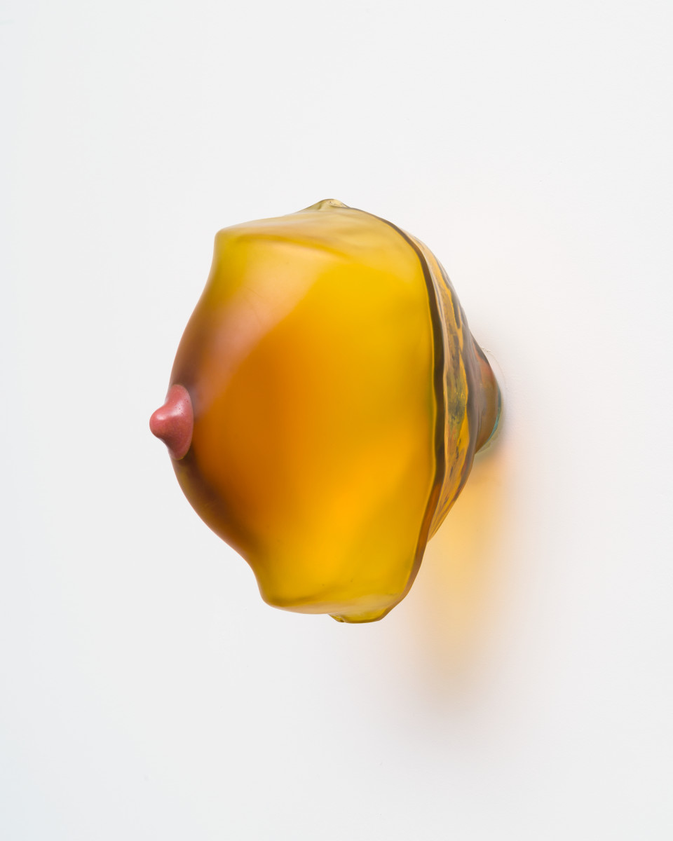 Image: Nevine Mahmoud  breast (Amber), 2018  blown glass, resin, and steel hardware  9 1/2 x 6 x 10 inches (24.1 x 15.2 x 25.4 cm)