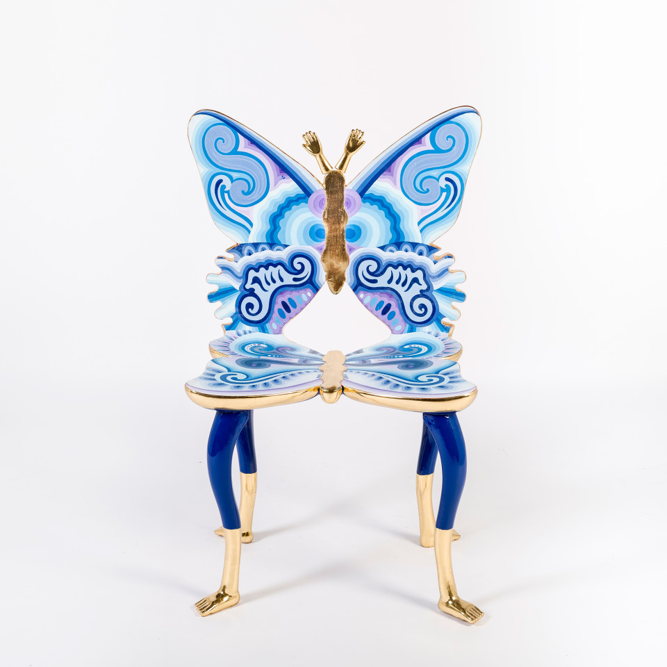 Image: Pedro Friedeberg  Blue Butterfly Chair, 2013  signed and dated  painted wood and gold leaf  35 1/8 x 22 7/8 x 17 3/4 inches (89 x 58 x 45 cm)