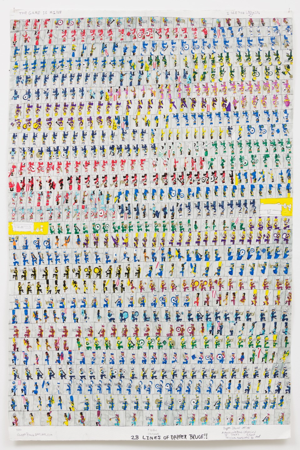 Image: Dapper Bruce Lafitte  T.D.B.C. Presents 28 Lines Of Dapper Bruce!!, 2017  signed and dated  archival ink on acid free paper  62 x 42 inches (157.5 x 106.7 cm)