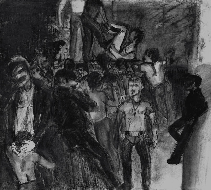 Image: Jimmy Wright  The Loft, 1975  signed and dated  graphite on paper  22 x 24 1/2 inches (55.9 x 62.2 cm)