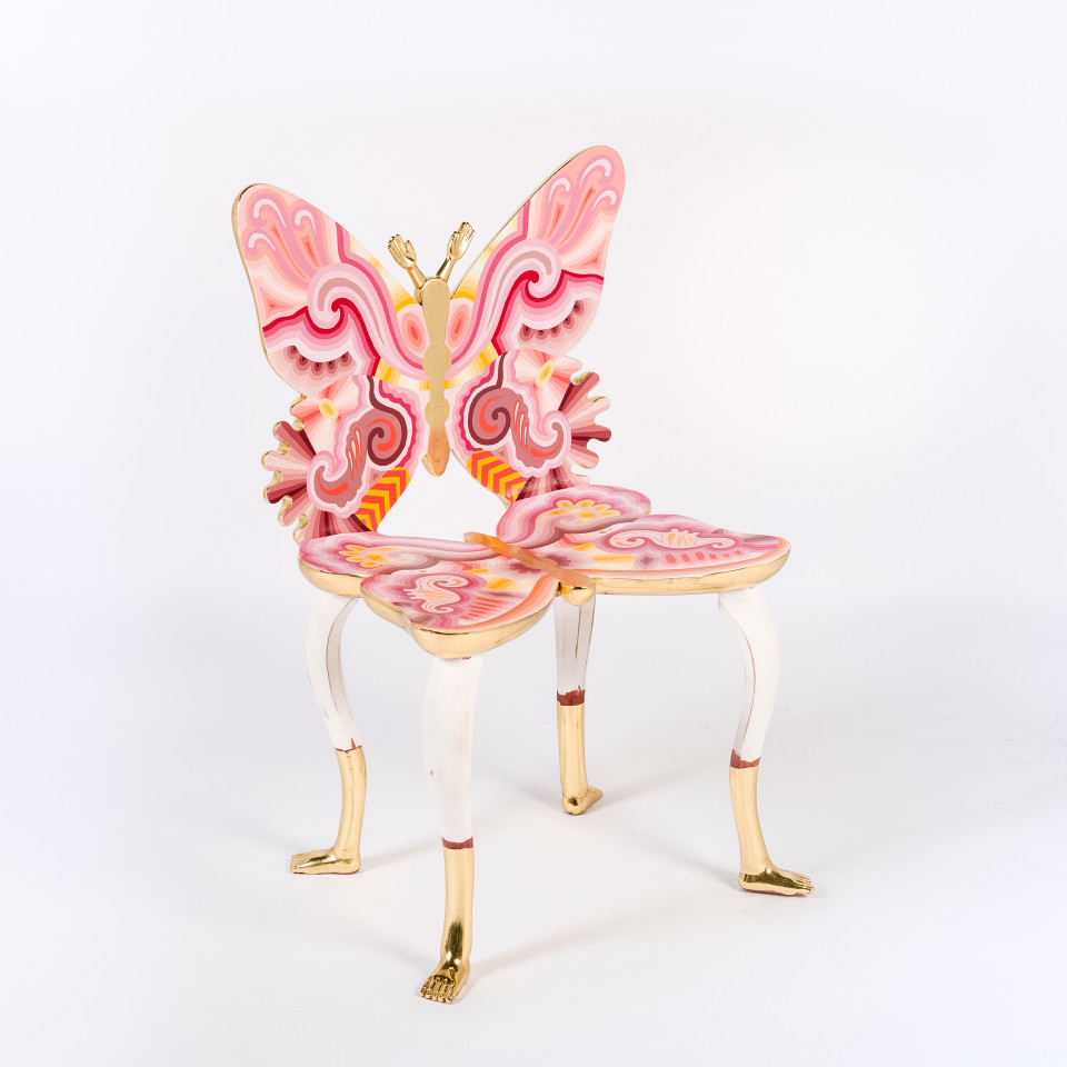 Image: Pedro Friedeberg  Pink Butterfly Chair, 2012  signed and dated  painted wood and gold leaf  35 3/8 x 23 5/8 x 19 1/4 inches (90 x 60 x 49 cm)