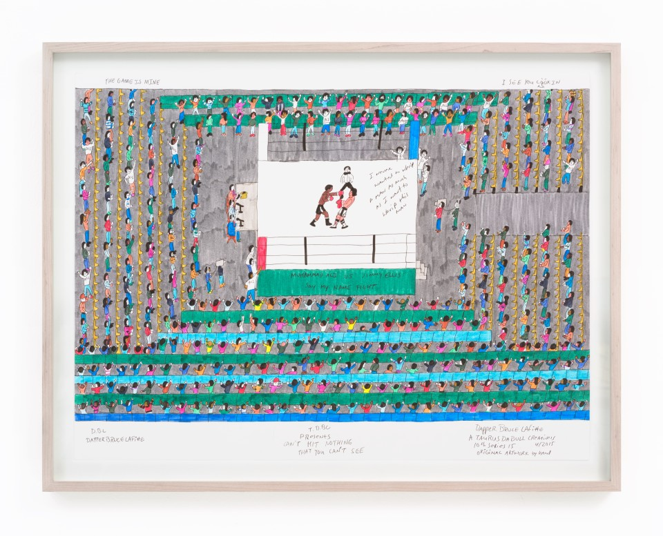 Image: Dapper Bruce Lafitte  T.D.B.C. Presents Can't Hit Nothing You That You Can't See, 2015  archival ink on acid free paper  paper size: 19 3/4 x 24 5/8 inches frame size: 21 1/16 x 27 1/8 inches
