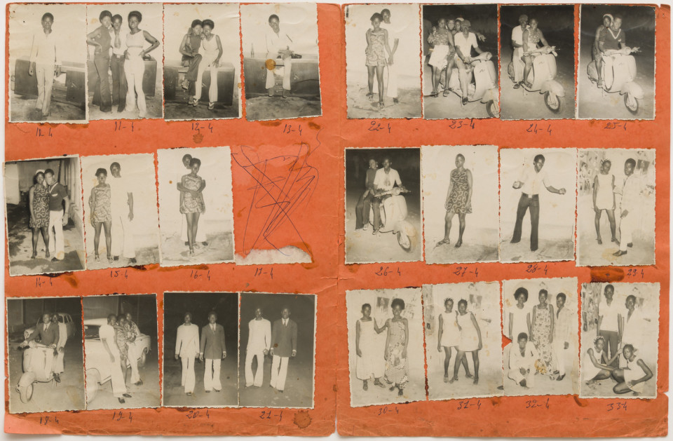 Image: Malick Sidibé  Nuit du 22-9/72, 1972  numerical notations under each print; signed, initialed, titled and dated verso  collection of 23 vintage gelatin silver prints mounted on paper  12-3/4 x 19-1/2 inches