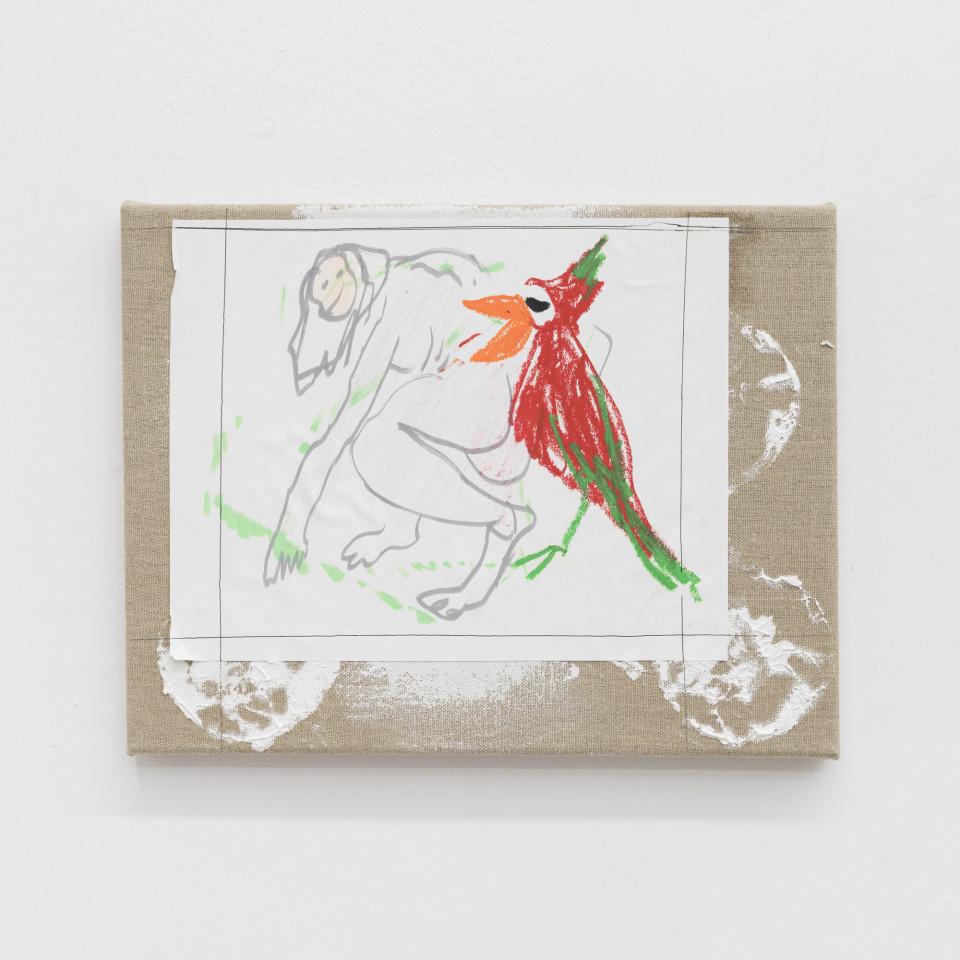 Image: Daniel Bocatto  parrotpainting, 2017  crayon, gesso, linen, paper, pen, pencil  13 x 10 x 1 inches (33 x 25.4 x 2.5 cm)
